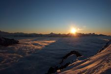Free Sunset Over The Alps Stock Image - 4907261