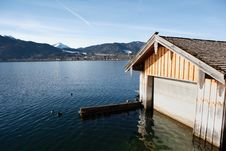 Free Boathouse At Bavarian Lake Royalty Free Stock Photos - 4908338