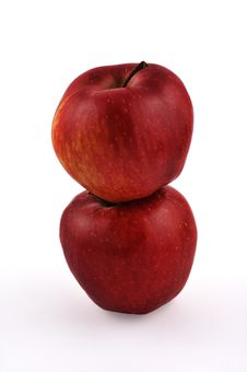 Free Two Stacked Red Apples Royalty Free Stock Image - 4909416