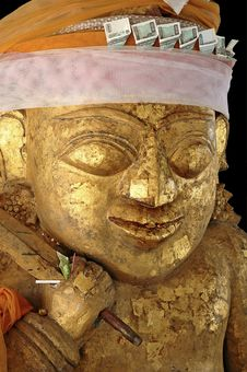 Free Myanmar, Bagan: Statue In A Pagoda Royalty Free Stock Image - 4909486