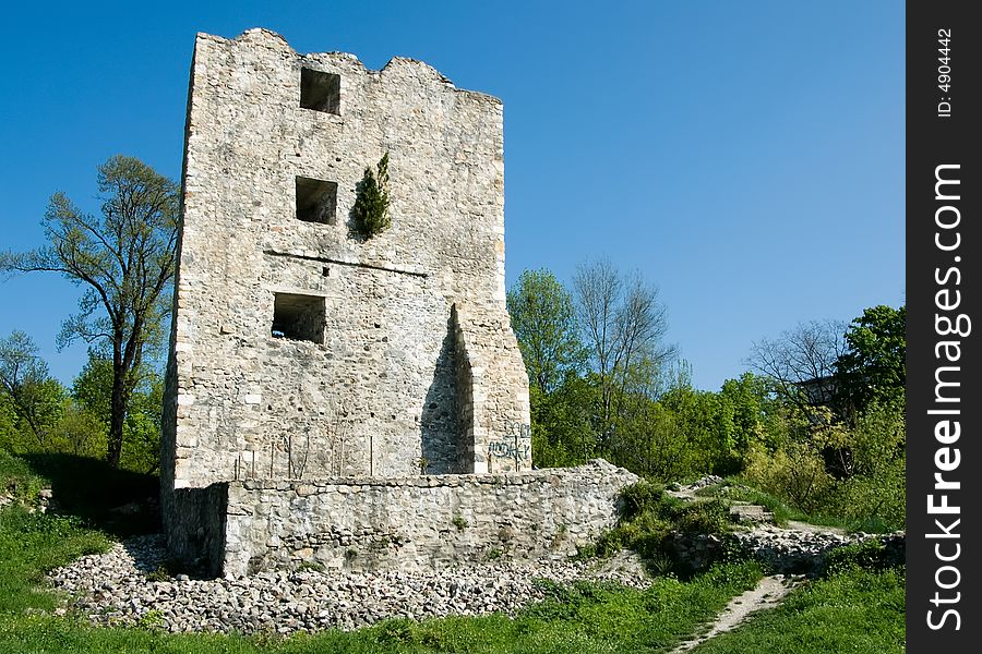 Severin fortress in Romania, medieval tower ruins