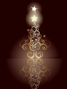 Free Card With Decorative Christmas Tree Stock Photography - 49007852