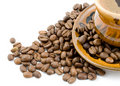 Free Coffee Beans And Black Coffee In A Cup Royalty Free Stock Photos - 4916538