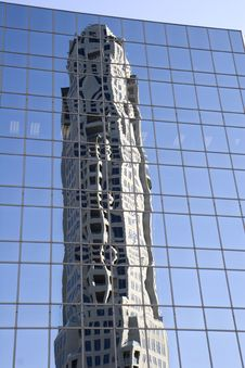 Free New Tower Reflected In Blue Glass Royalty Free Stock Photo - 4910715