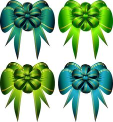 Free Vector Set Decorative Bows Stock Images - 4911914