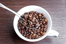 Free Top View Of Spoonfull Coffee Beans Royalty Free Stock Images - 4912299
