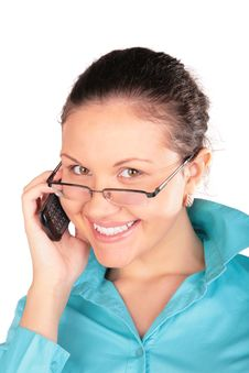 Free Girl In Glasses Talks By Phone Royalty Free Stock Photography - 4915457