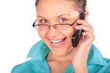 Free Girl In Glasses Talks By Phone 2 Royalty Free Stock Images - 4915469