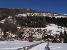Alps Village In Winter Stock Photo