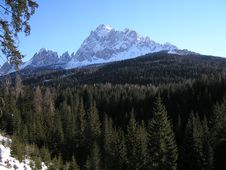 Free Alpine Mountains And Forest In Winter Royalty Free Stock Image - 4916326