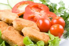 Free Chicken Nuggets With Vegetables Stock Images - 4917354