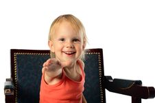 Free Little Girl Offer Hand To Audience Royalty Free Stock Image - 4917906