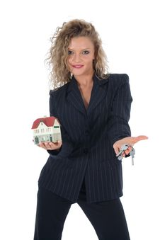 Business Woman Advertises Real Estate Royalty Free Stock Images