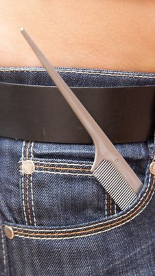 Free Grey Hairbrush Thin End In A Pocket Of Jeans. Stock Images - 4918504
