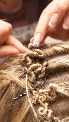The Hairdresser Does A Hairdress To The Bride Stock Photography