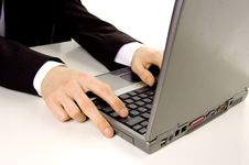 Free Businessman Typing On Laptop Royalty Free Stock Images - 4918709