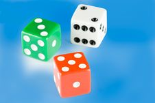 Free Three Dice Pieces On Blue Background Royalty Free Stock Photo - 4920265