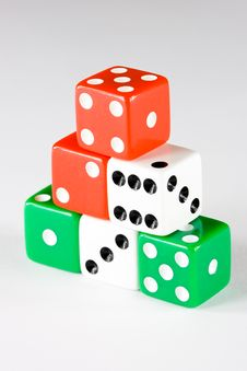 Free Six Dice Pieces In Various Colors Stock Photography - 4920332