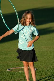 Free Girl With Hula-hoop Stock Images - 4921004