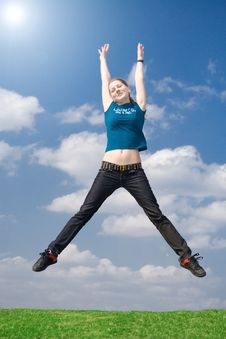 Free The Happy Jumping Girl Royalty Free Stock Images - 4921279