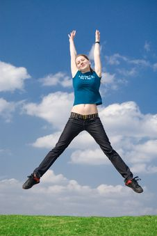 Free The Happy Jumping Girl Royalty Free Stock Images - 4921309