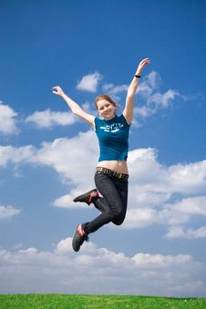 Free The Happy Jumping Girl Royalty Free Stock Image - 4921456