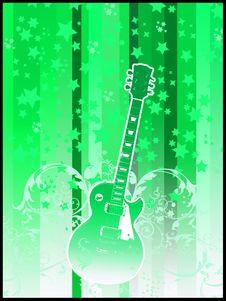 Retro Guitar Green Royalty Free Stock Photography