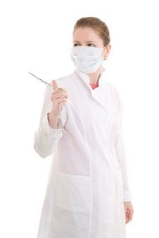 The Young Nurse With Scissors Isolated On A White Royalty Free Stock Image