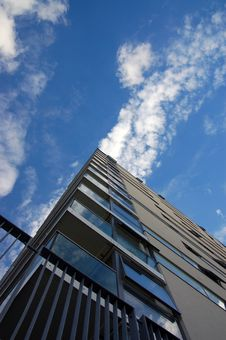 Free Apartment Block & Cloudy Sky, Looking Up Stock Photo - 4923900