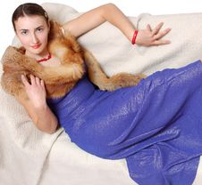 Free Nice Girl In An Evening Dress With Fox Royalty Free Stock Photography - 4925257