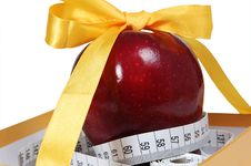 Free Red Apple In Box With Tape-line Like Gift Stock Photography - 4925292