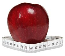 Free Red Apple With Tape-line Royalty Free Stock Photo - 4925295