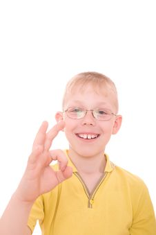 Free Smiling Teenager Showing OK Sign Stock Photography - 4925412