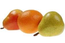Free Colorful Pears And  Orange Royalty Free Stock Image - 4925486