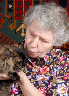 Grandmother With Cat On Her Hands Royalty Free Stock Image