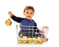 Free Christmas Bulb Baby Stock Image - 4926711