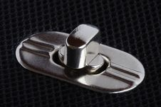 Fastener On A Black Bag Stock Photography