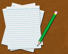Free Desktop With Blank Paper And Pencil Royalty Free Stock Photo - 4926795
