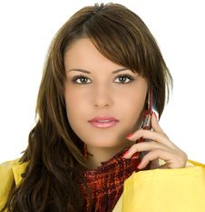 Free Brunette Call Taxi Stock Image - 4926941