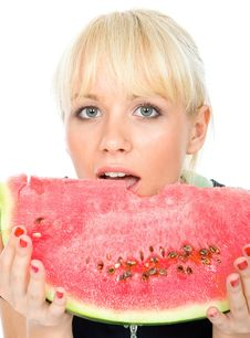 Free Blondy Hold Water-melon Stock Photos - 4927003