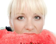 Free Blondy Hold Water-melon Royalty Free Stock Image - 4927016
