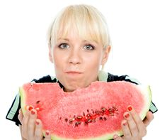 Free Blondy Hold Water-melon Royalty Free Stock Images - 4927019
