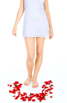 Free Woman Legs And Petal Of Rouses Stock Photography - 4927052