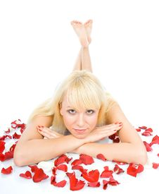 Woman Throwing Rose Petals Royalty Free Stock Photo
