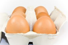 Free Six Eggs In Carton Isolated Stock Photography - 4927542