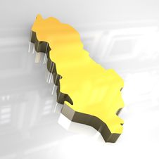 Free 3d Golden Map Of Albania Royalty Free Stock Photo - 4928705