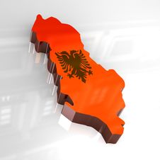 Free 3d Flag Map Of Albania Royalty Free Stock Images - 4928719