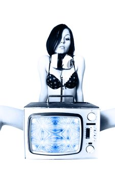 Free Tv Woman Royalty Free Stock Photo - 4928795