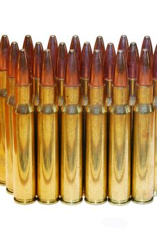 Isolated 30-06 Bullets On White Royalty Free Stock Images