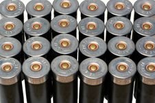 12 Gage Black Shotgun Shells Background Stock Photography